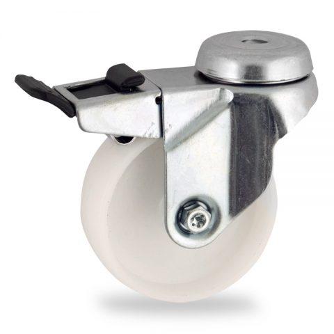 Galvanisé roulette pivotante avec frein 50mm  pour chariots,roue de polyamide,moyeu lisse.Monté en trou central