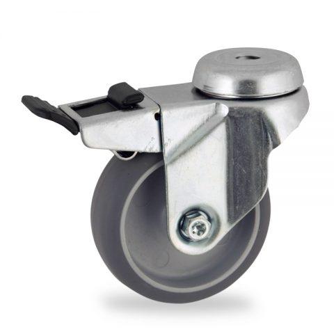 Galvanisé roulette pivotante avec frein 50mm  pour chariots,roue de caoutchouc thermoplastique couleur gris,moyeu lisse.Monté en trou central