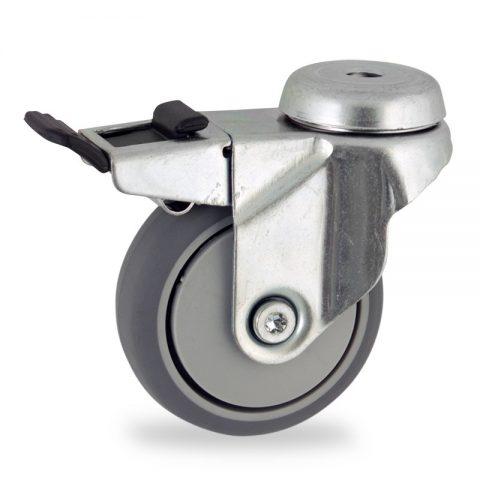 Galvanisé roulette pivotante avec frein 75mm  pour chariots,roue de caoutchouc thermoplastique couleur gris,moyeu lisse.Monté en trou central