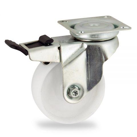 Galvanisé roulette pivotante avec frein 50mm  pour chariots,roue de polyamide,moyeu lisse.Monté en platine