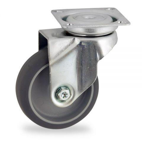 Galvanisé roulette pivotante 50mm  pour chariots,roue de caoutchouc thermoplastique couleur gris,moyeu lisse.Monté en platine