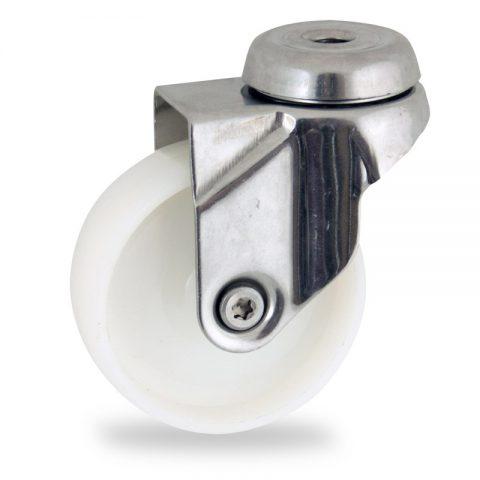 Inoxydable roulette pivotante 125mm  pour chariots,roue de polyamide,moyeu lisse.Monté en trou central