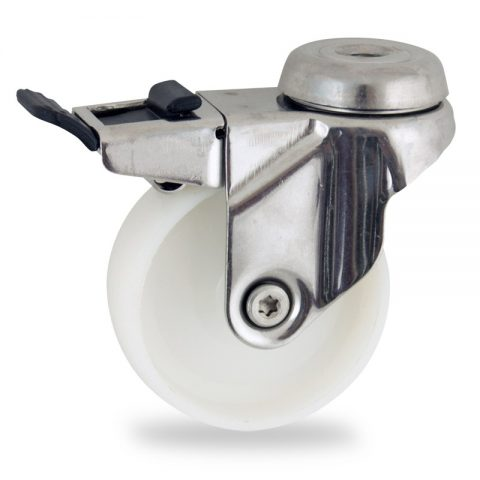 Inoxydable roulette pivotante avec frein 125mm  pour chariots,roue de polyamide,moyeu lisse.Monté en trou central