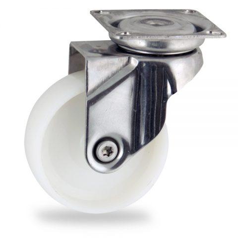 Inoxydable roulette pivotante 50mm  pour chariots,roue de polyamide,moyeu lisse.Monté en platine