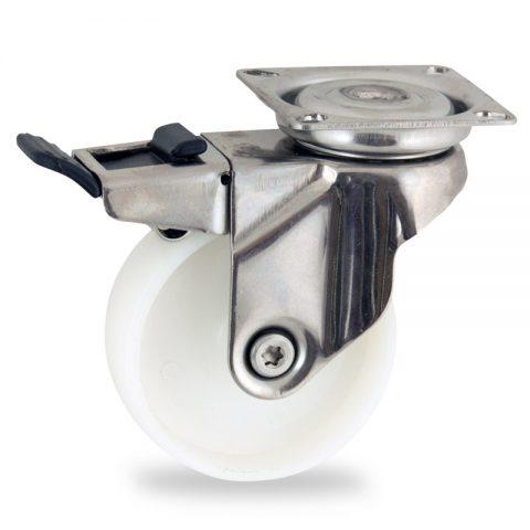 Inoxydable roulette pivotante avec frein 50mm  pour chariots,roue de polyamide,moyeu lisse.Monté en platine