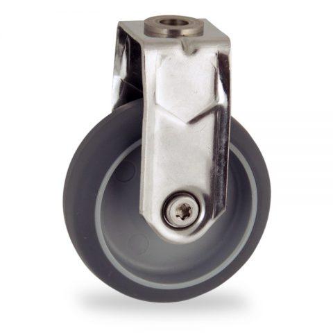 Inoxydable roulette fixe  50mm  pour chariots,roue de caoutchouc thermoplastique couleur gris,moyeu lisse.Monté en trou central