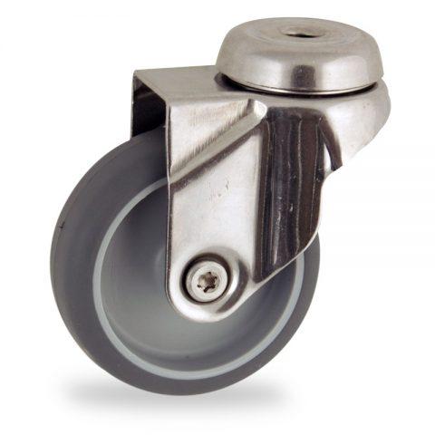 Inoxydable roulette pivotante 50mm  pour chariots,roue de caoutchouc thermoplastique couleur gris,moyeu lisse.Monté en trou central