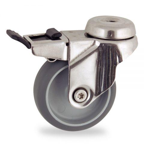 Inoxydable roulette pivotante avec frein 50mm  pour chariots,roue de caoutchouc thermoplastique couleur gris,moyeu lisse.Monté en trou central