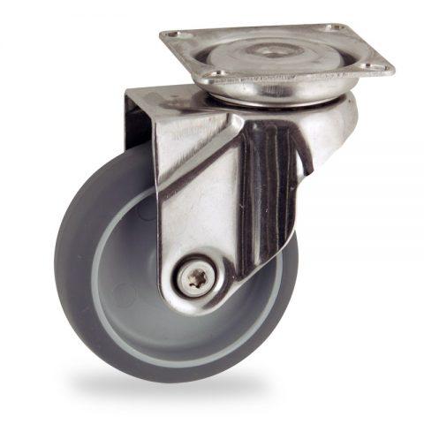 Inoxydable roulette pivotante 100mm  pour chariots,roue de caoutchouc thermoplastique couleur gris,moyeu lisse.Monté en platine