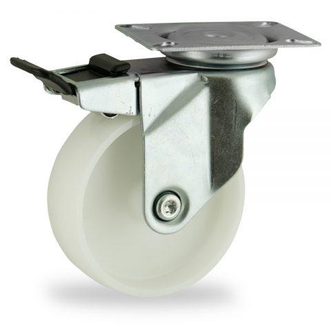Galvanisé roulette pivotante avec frein 75mm  pour chariots,roue de polyamide,moyeu lisse.Monté en platine
