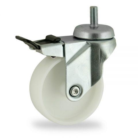 Galvanisé roulette pivotante avec frein 75mm  pour chariots,roue de polyamide,moyeu lisse.Monté en embout filété