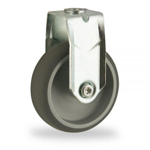 Galvanisé roulette fixe  125mm  pour chariots,roue de caoutchouc thermoplastique couleur gris,moyeu lisse.Monté en trou central