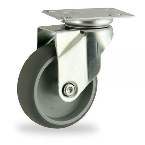 Galvanisé roulette pivotante 125mm  pour chariots,roue de caoutchouc thermoplastique couleur gris,moyeu lisse.Monté en platine