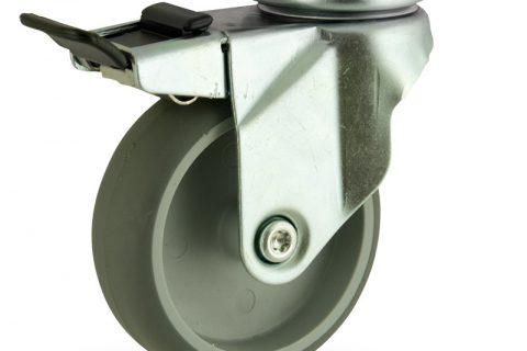 Galvanisé roulette pivotante avec frein 125mm  pour chariots,roue de caoutchouc thermoplastique couleur gris,moyeu lisse.Monté en platine