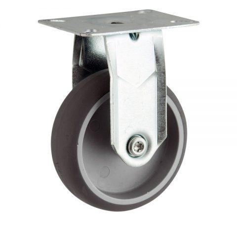 Galvanisé roulette fixe  150mm  pour chariots,roue de caoutchouc thermoplastique couleur gris,moyeu lisse.Monté en platine