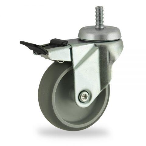 Galvanisé roulette pivotante avec frein 75mm  pour chariots,roue de caoutchouc thermoplastique couleur gris,moyeu lisse.Monté en embout filété