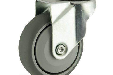 Galvanisé roulette pivotante 125mm  pour chariots,roue de caoutchouc thermoplastique couleur gris,roulement à billes de precision.Monté en trou central