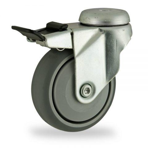 Galvanisé roulette pivotante avec frein 125mm  pour chariots,roue de caoutchouc thermoplastique couleur gris,roulement à billes de precision.Monté en trou central