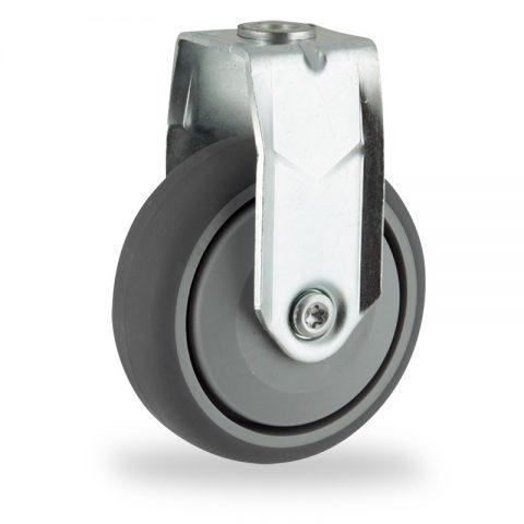 Galvanisé roulette fixe  125mm  pour chariots,roue de caoutchouc thermoplastique couleur gris,roulement à billes de precision.Monté en trou central