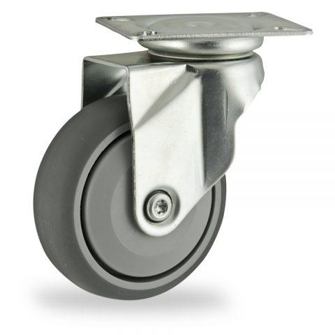Galvanisé roulette pivotante 125mm  pour chariots,roue de caoutchouc thermoplastique couleur gris,roulement à billes de precision.Monté en platine