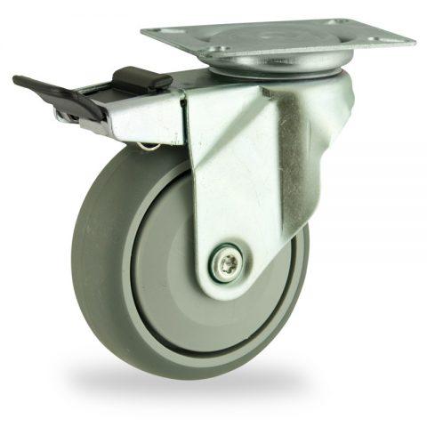 Galvanisé roulette pivotante avec frein 125mm  pour chariots,roue de caoutchouc thermoplastique couleur gris,roulement à billes de precision.Monté en platine