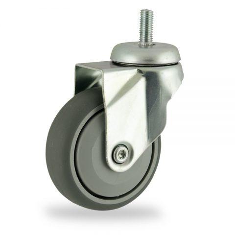 Galvanisé roulette pivotante 100mm  pour chariots,roue de caoutchouc thermoplastique couleur gris,roulement à billes de precision.Monté en embout filété