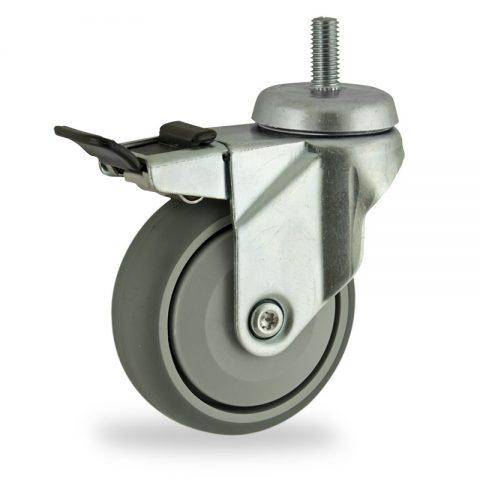 Galvanisé roulette pivotante avec frein 125mm  pour chariots,roue de caoutchouc thermoplastique couleur gris,roulement à billes de precision.Monté en embout filété