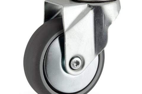 Galvanisé roulette pivotante 125mm  pour chariots,roue de caoutchouc thermoplastique couleur gris,moyeu lisse.Monté en trou central