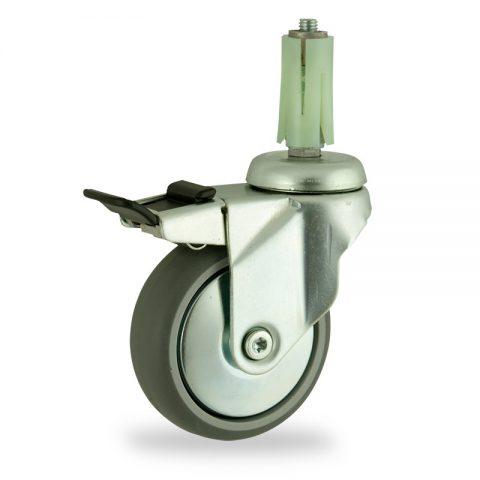 Galvanisé roulette pivotante avec frein 125mm  pour chariots,roue de caoutchouc thermoplastique couleur gris,roulement à billes.Monté en expansible rond 19/23