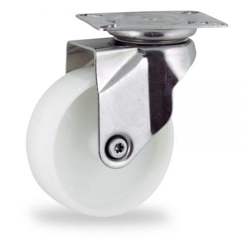 Inoxydable roulette pivotante 150mm  pour chariots,roue de polyamide,moyeu lisse.Monté en platine