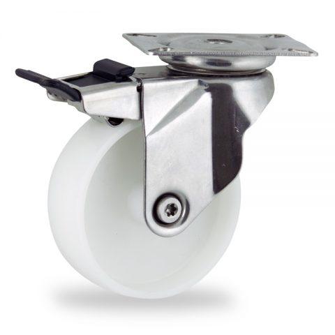 Inoxydable roulette pivotante avec frein 150mm  pour chariots,roue de polyamide,moyeu lisse.Monté en platine