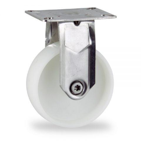 Inoxydable roulette fixe  150mm  pour chariots,roue de polyamide,moyeu lisse.Monté en platine