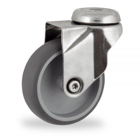 Inoxydable roulette pivotante 125mm  pour chariots,roue de caoutchouc thermoplastique couleur gris,moyeu lisse.Monté en trou central