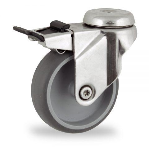 Inoxydable roulette pivotante avec frein 100mm  pour chariots,roue de caoutchouc thermoplastique couleur gris,moyeu lisse.Monté en trou central