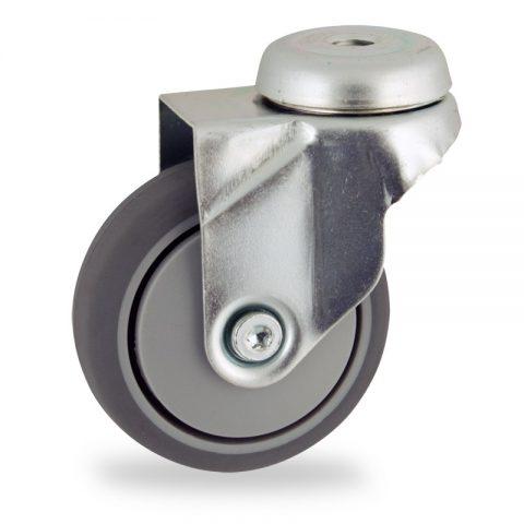 Galvanisé roulette pivotante 75mm  pour chariots,roue de caoutchouc thermoplastique couleur gris,moyeu lisse.Monté en trou central