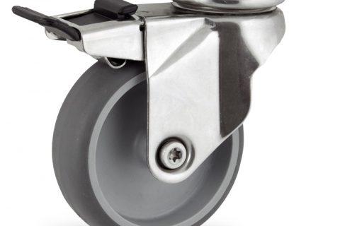 Inoxydable roulette pivotante avec frein 125mm  pour chariots,roue de caoutchouc thermoplastique couleur gris,moyeu lisse.Monté en platine