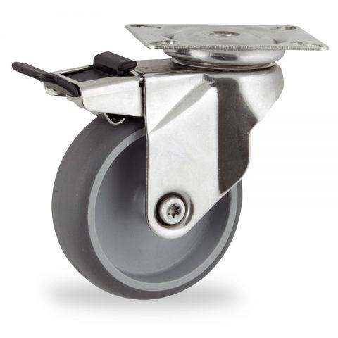 Inoxydable roulette pivotante avec frein 125mm  pour chariots,roue de caoutchouc thermoplastique couleur gris,roulement à billes.Monté en platine
