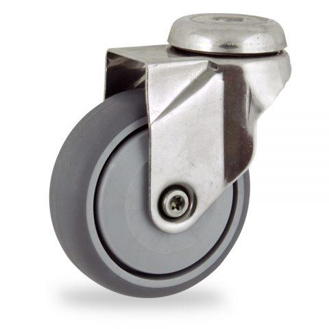 Inoxydable roulette pivotante 125mm  pour chariots,roue de caoutchouc thermoplastique couleur gris,roulement à billes de precision.Monté en trou central