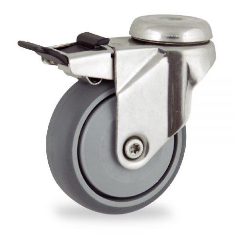 Inoxydable roulette pivotante avec frein 125mm  pour chariots,roue de caoutchouc thermoplastique couleur gris,roulement à billes de precision.Monté en trou central