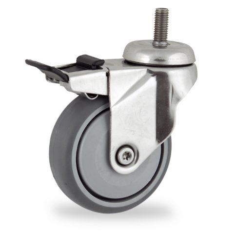 Inoxydable roulette pivotante avec frein 100mm  pour chariots,roue de caoutchouc thermoplastique couleur gris,roulement à billes de precision.Monté en embout filété