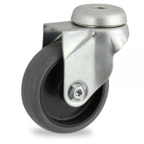 Galvanisé roulette pivotante 50mm  pour chariots,roue de caoutchouc thermoplastique couleur gris,moyeu lisse.Monté en trou central