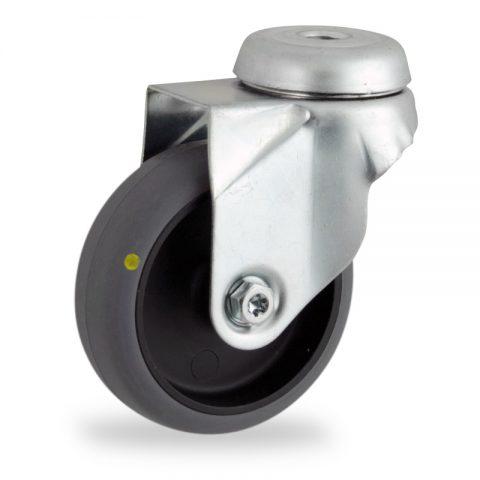 Galvanisé roulette pivotante 50mm  pour chariots,roue de Conductrice caoutchouc thermoplastique couleur gris,moyeu lisse.Monté en trou central