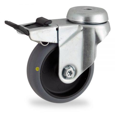 Galvanisé roulette pivotante avec frein 50mm  pour chariots,roue de Conductrice caoutchouc thermoplastique couleur gris,moyeu lisse.Monté en trou central