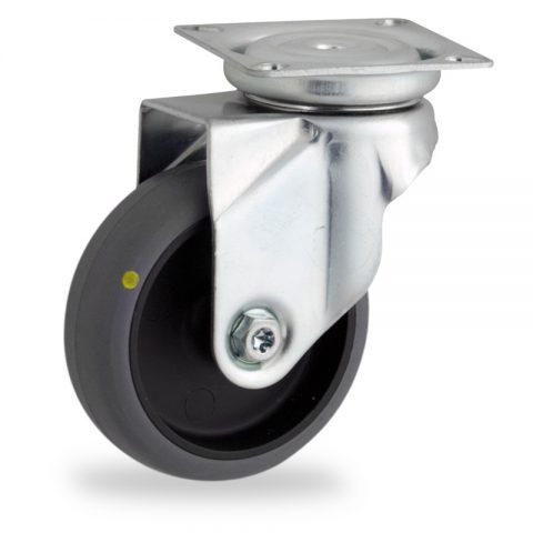 Galvanisé roulette pivotante avec frein 50mm  pour chariots,roue de Conductrice caoutchouc thermoplastique couleur gris,moyeu lisse.Monté en platine