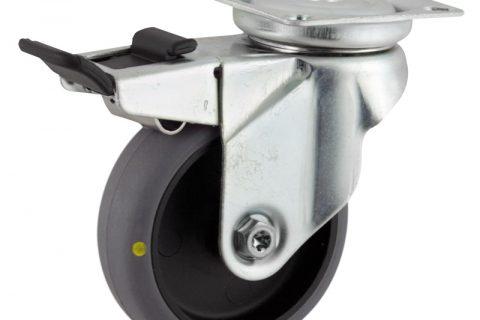 Galvanisé roulette pivotante avec frein 125mm  pour chariots,roue de Conductrice caoutchouc thermoplastique couleur gris,roulement à billes.Monté en platine