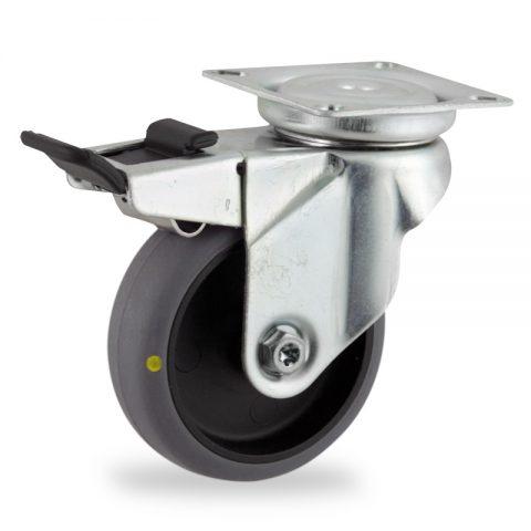 Galvanisé roulette pivotante avec frein 75mm  pour chariots,roue de Conductrice caoutchouc thermoplastique couleur gris,moyeu lisse.Monté en platine