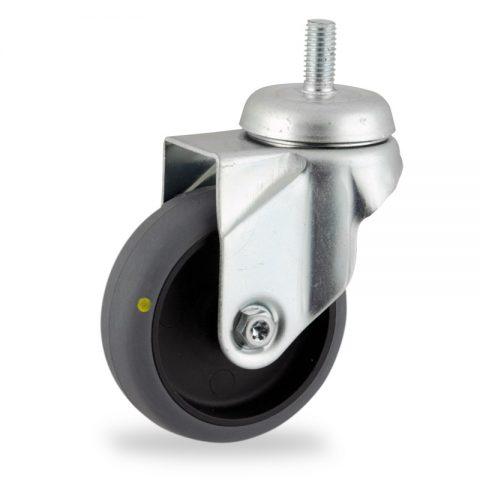 Galvanisé roulette pivotante 125mm  pour chariots,roue de Conductrice caoutchouc thermoplastique couleur gris,moyeu lisse.Monté en embout filété
