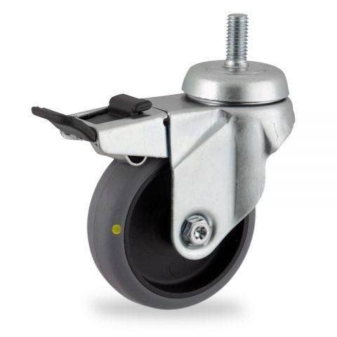 Galvanisé roulette pivotante avec frein 100mm  pour chariots,roue de Conductrice caoutchouc thermoplastique couleur gris,roulement à billes.Monté en embout filété