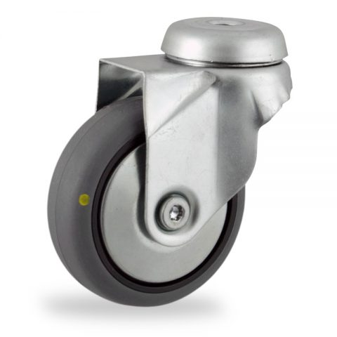 Galvanisé roulette pivotante 125mm  pour chariots,roue de Conductrice caoutchouc thermoplastique couleur gris,roulement à billes.Monté en trou central