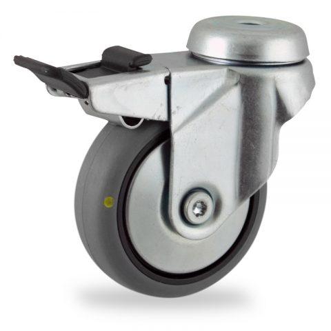 Galvanisé roulette pivotante avec frein 75mm  pour chariots,roue de Conductrice caoutchouc thermoplastique couleur gris,moyeu lisse.Monté en trou central